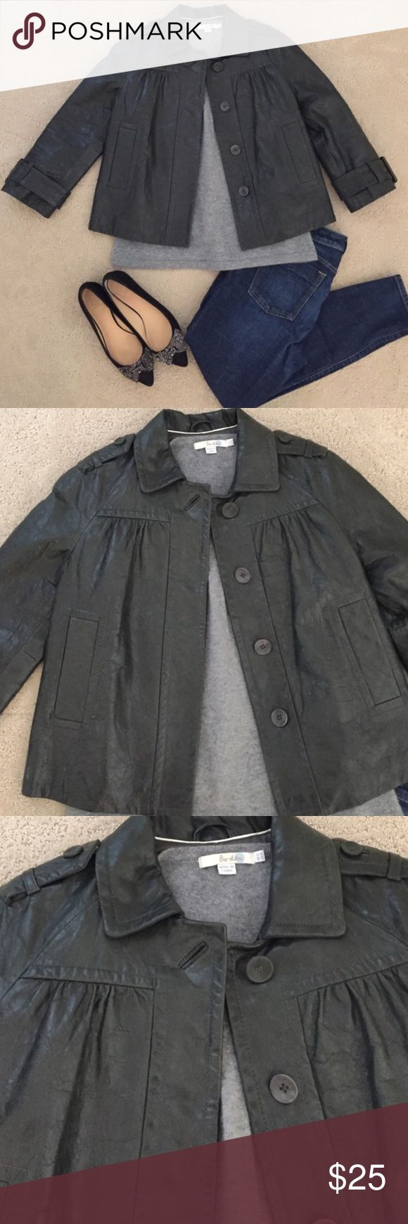 Buttery Soft Banana Republic Leather Jacket Small Pretty vintage style Banana Republic leather jacket.  Great condition with very minor wear.  Greenish grey with bracelet length sleeves and a swingy fit.  Heavy soft leather.  Size small. Banana Republic Jackets & Coats Blazers