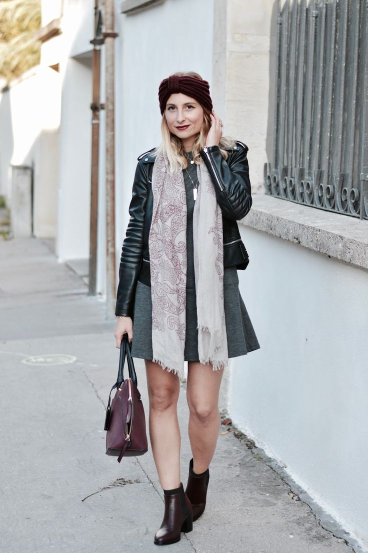 look automne robe grise zara perfecto noir zara bottine bordeaux Pimkie sac bordeaux gémo
