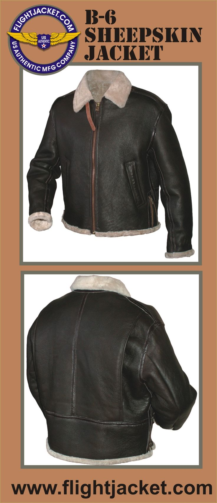 Medium- weight sheepskin (12-14 mm), natural white color fur and seal brown exterior. Collar with one buckled closure strap. The sheepskin visible at the cuffs and waist. Two front flush- sewn slash pockets. Front Talon zipper. Snapped cuffs. Under collar strap closure. Side seam zippers for sweep adjustment. Goatskin enforcement strip over all seams.  Explore the collection of our military spec. flight jackets at a discounted price. Made IN THE USA www.flightJacket.com