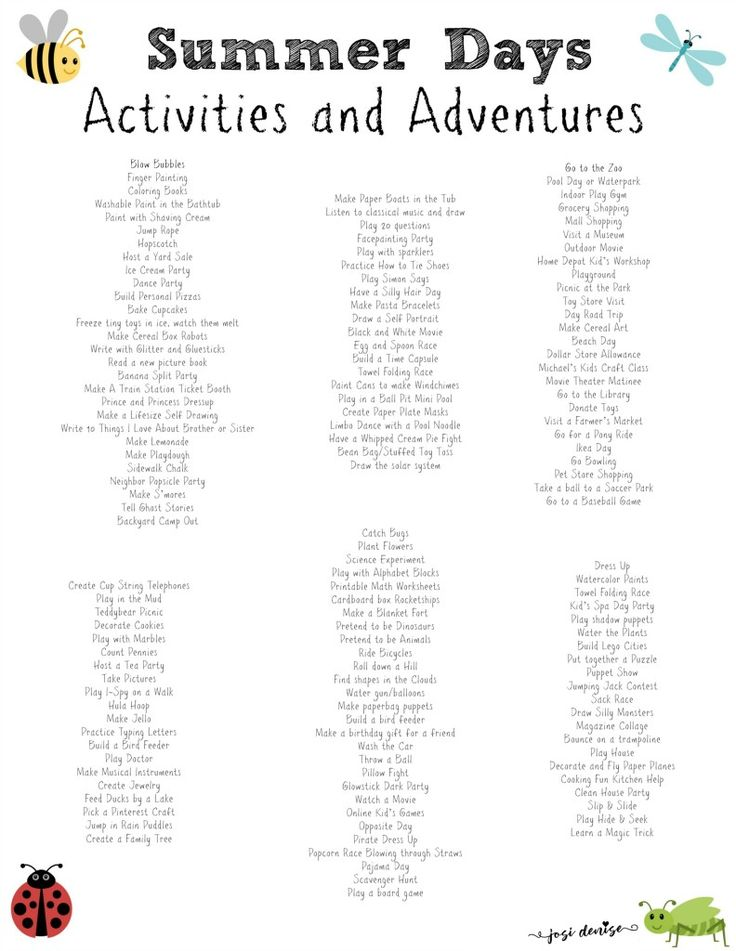150+ Activities for Kids on Summer Break + Summer Schedule for Kids - FREE Printables! · Josi Denise