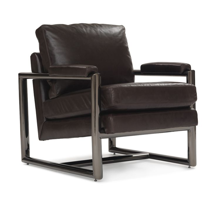 PRESLEY LEATHER CHAIR POLISHED BLACK MIRROR<BR>[available online and in stores]