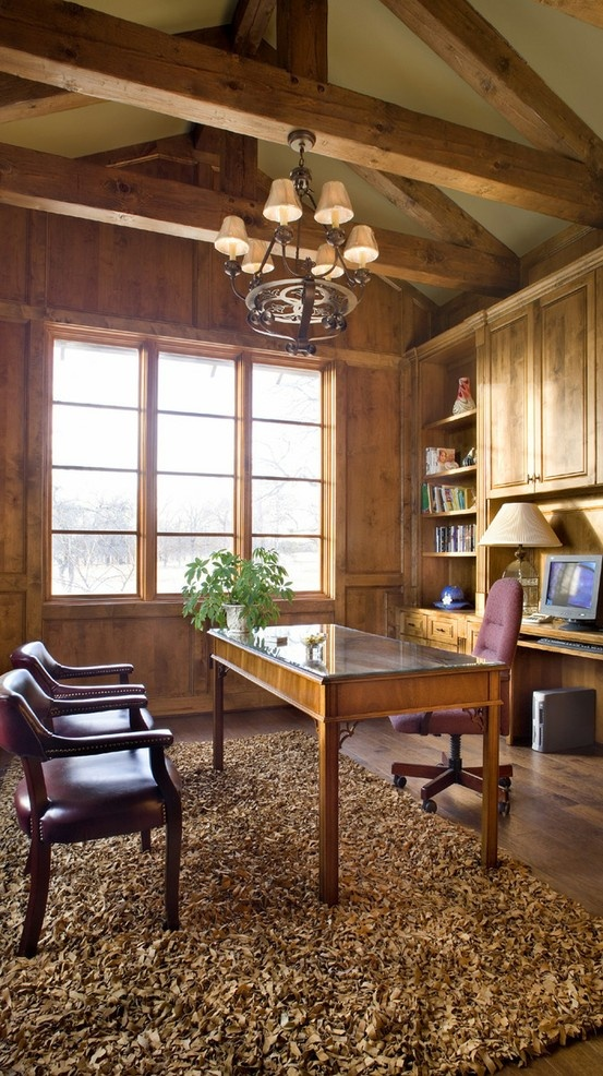 Country style office with wood beam ceilings #offices #homedecor #austinrealestate