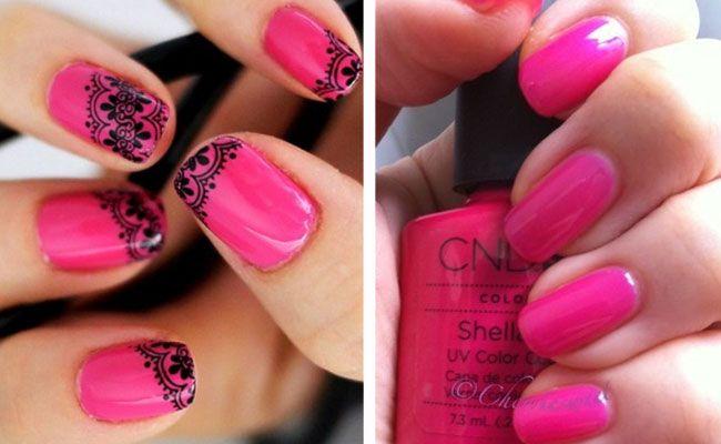 розовый ногти шеллак фото