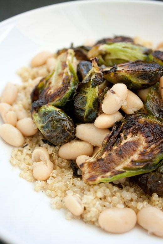 Roasted Brussels Sprouts with Cannellini Beans and Quinoa