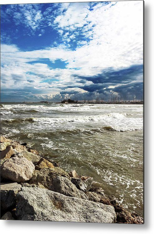 Mole Stones  In Rimini Metal Print by Marina Usmanskayafor home decor.    All metal prints are professionally printed, packaged, and shipped within 3 - 4 business days and delivered ready-to-hang on your wall. Choose from multiple sizes and mounting options.  Mole stones in Rimini  Сoast of the Adriatic Sea in Rimini italy after the storm.  #MarinaUsmanskayaFineArtPhotography #homedecor #artforhome #FineartPrints #Italy #Rimini #Travel #Storm