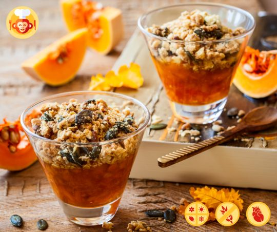 Delicious pumpkin crumble with coconut and cinnamon.  #crumble #winter #dessert #sweet #vegan #ideas #recipe #best #yummy #delicious #raw #pumpkin #cinnamon #nuts #autumn #orange #table #food #foodporn