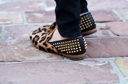 leopard & studs make my heart beat: Spikes, Leopards Shoes, Little Rocks, Studs Loafers, Leopards Prints, Animal Prints, Cheetahs Prints, Leopards Loafers, Leopards Flats