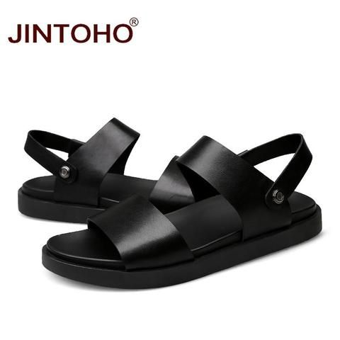 011ad6717deac JINTOHO 2017 New Men Sandals High Quality Men Leather Sandals Summer Beach  Men Shoes Leather Slippers For Men Fashion Slides-Touchy Style-hei se-5.5-  ...