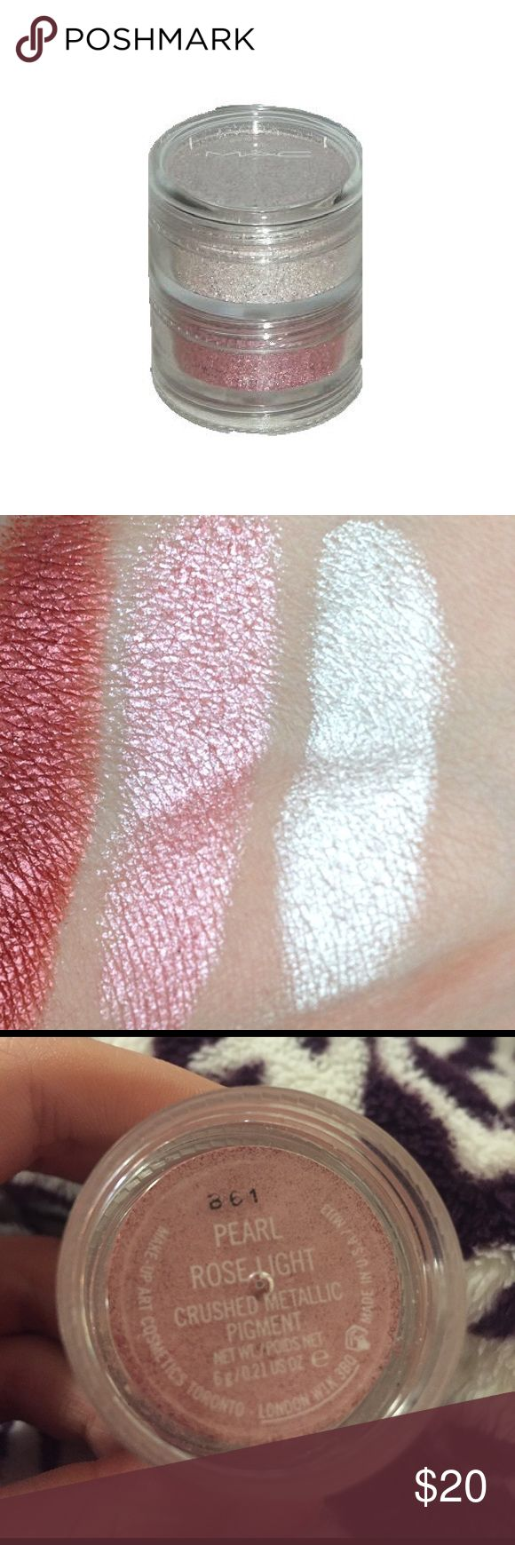 277 best make up images on pinterest cosmetics mac lipstick and mac crushed metallic pigments two rarediscontinued mac metallic crushed eyeshadow pigments in pearl and rose light only swatched geenschuldenfo Image collections