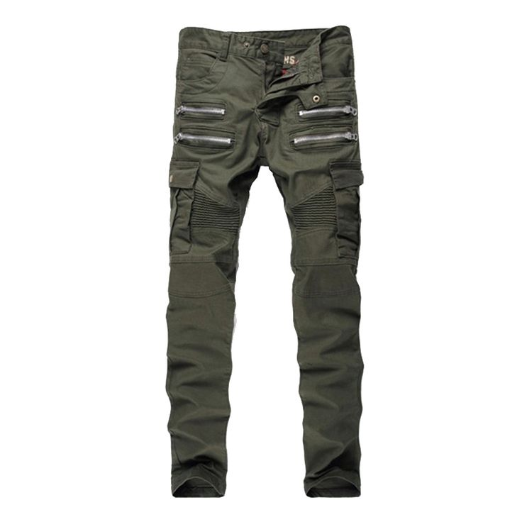 2016 Mens Skinny Ripped Biker Jeans Multi Pockets Cargo Pant Army Green Mens Pleated Pencil Jeans P2086