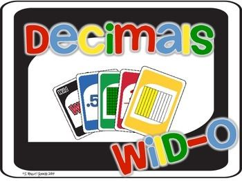 Use+this+game+as+a+fun+way+to+review+decimals!++Students+match+cards+of+the+same+color,+or+decimal,+picture+representation,+and+or+fraction+to+play+the+game.++First+student+to+discard+all+of+their+cards+win!This+set+includes:Directions48+decimal+cards+(decimal,+picture+representation,+&+fraction)4+Wild+cards8+Skip+cards8+Draw+Two+cards8+Reverse+cardsIf+you+like+this+product+please+check+out+my+other+Wild-O+GamesFraction+Wild-OLiquid+Measurement+Wild-OBy+I+{Heart}+RecessI+{Heart}+Recess+FB...