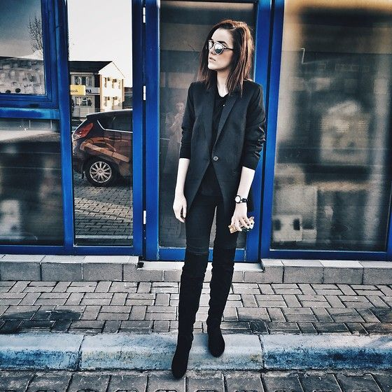 Get this look: http://lb.nu/look/8054812  More looks by Andreea Birsan: http://lb.nu/andreeabirsan  Items in this look:  Christian Dior Sunglasses, Mango Blazer, Zara Tshirt, H&M Jeans, Bvlgari Watch, R&R Overknee Boots   #casual #minimal #street #suede #allblack #soreal #layers #layering #leather