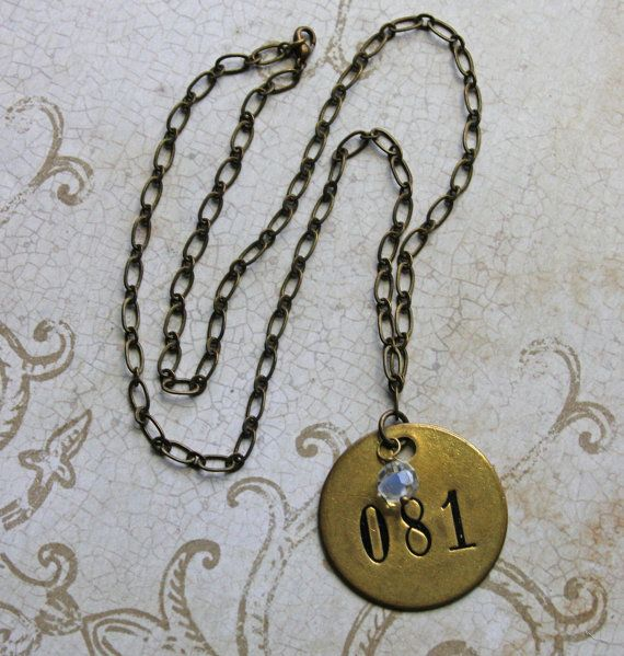 Vintage BRASS TAG Necklace Found Object Jewelry by VintageSupplyCo