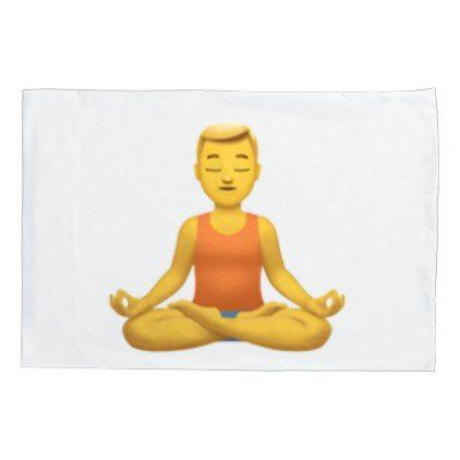 #Man in Lotus Position - Emoji Pillowcase - #Pillowcases #Pillowcase #Home #Bed #Bedding #Living