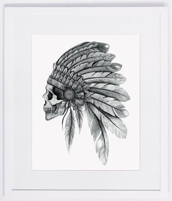 Crâne de chef indien NZFINCH A4, coiffe, impression numérique de plumes de œuvres d'art originales