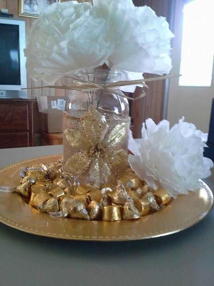 50th Anniversary Center Pieces - Burlap Wrapped Mason Jars - Gold Tray from Dollar Store - Handmade Coffee Filter Flowers - Gold Wrapped Candy Pieces