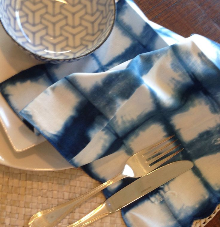 A personal favourite from my Etsy shop https://www.etsy.com/au/listing/235183585/set-of-4-indigo-shibori-table-napkins