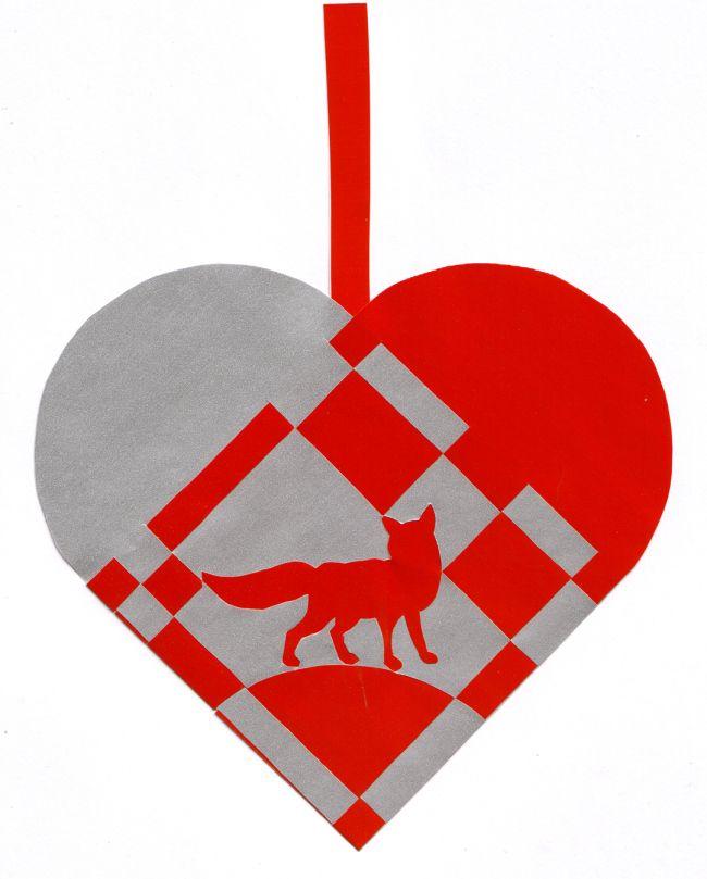 Braided Christmas heart with fox
