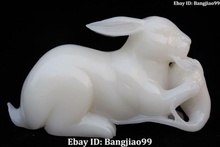 """10"""" China Natural White Jade Carving Rabbit Hare Animal Eat Turnip Radish Statue   eBay"""