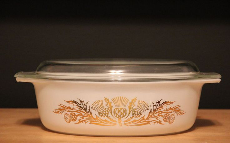 RARE Pyrex Thistle 2 1/2qt Oval Casserole Dish with Lid 045 White Gold #Pyrex
