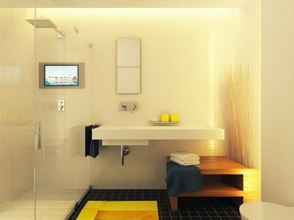 modern bathroom equipped with waterproof tv set, white bathroom sink and faucet, bathroom storage, white toilet and wooden towel's storage