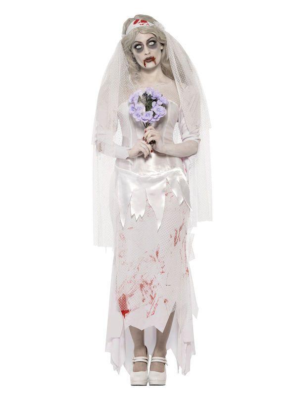 Zombie Braut Halloween Damenkostüm weiss-rot