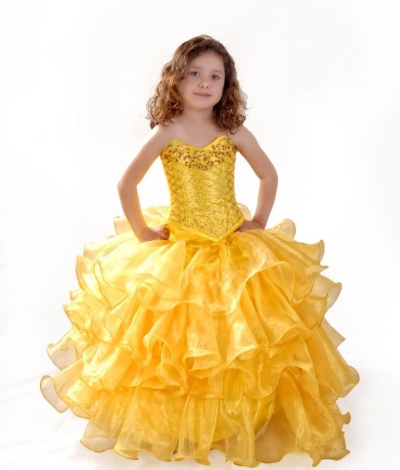 pretty yellow taffeta formal or pageant girls dress - Pageant Girl Halloween Costume