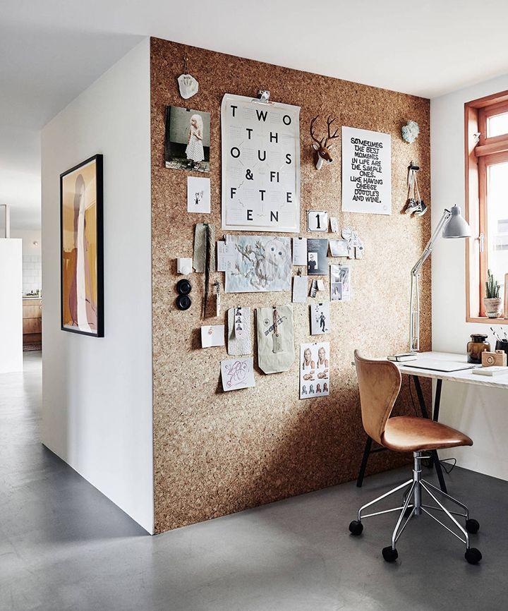 Decoração de: Home office; parede de cortiça; Casa de Valentina
