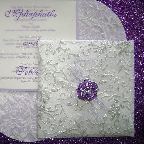 Ref Clover White with silver lace ( we can do any colour) www.weddingcards.co.za