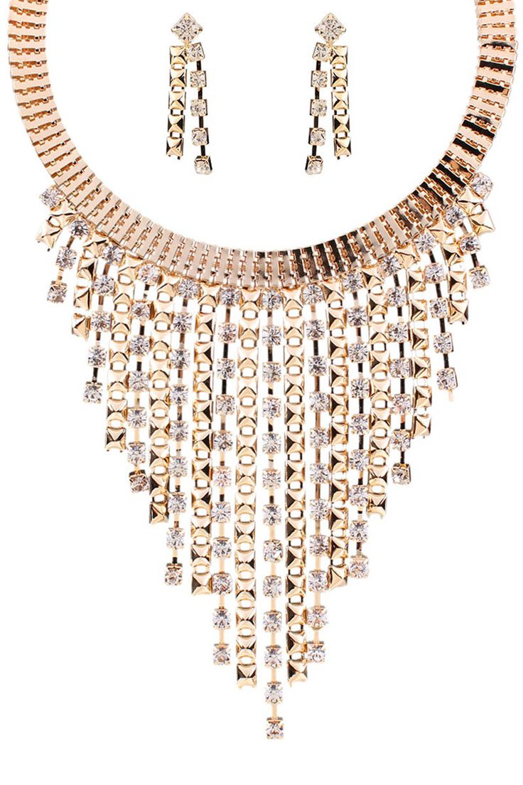 Rhinestone Tassel Necklace and Earrings