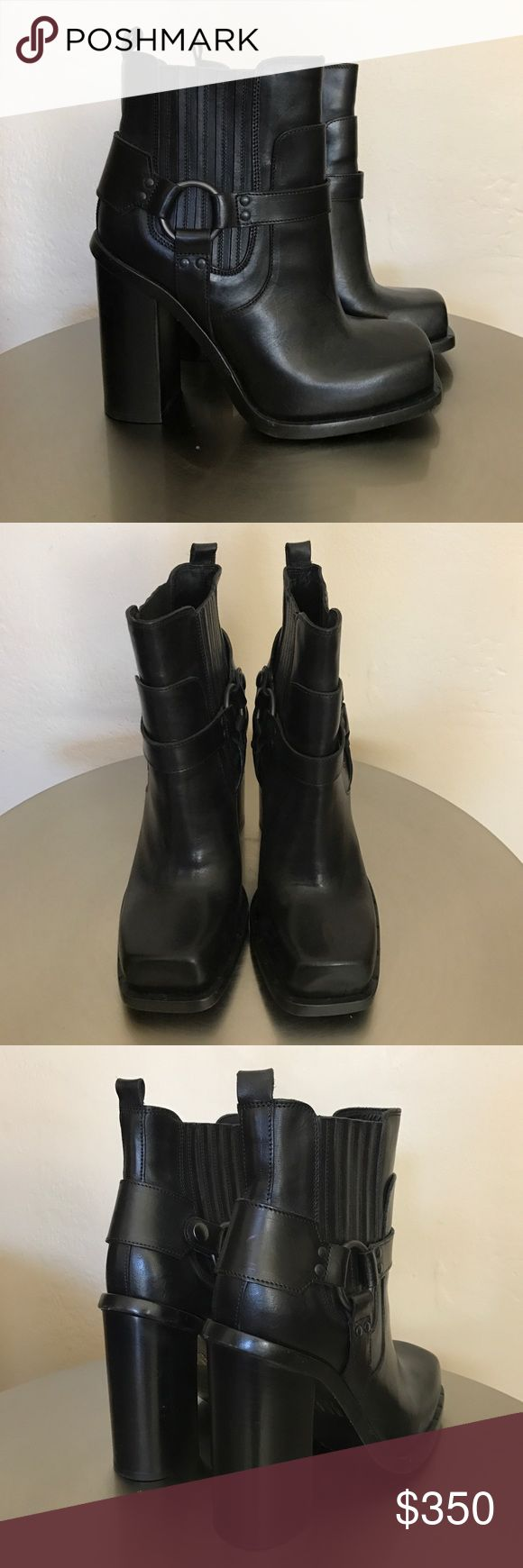 Diesel Black|Gold moto boot Black harness moto boot. Diesels high end black|gold line. Worn once. Near perfect condition. No trades. Women's size 8. Diesel Black Gold Shoes