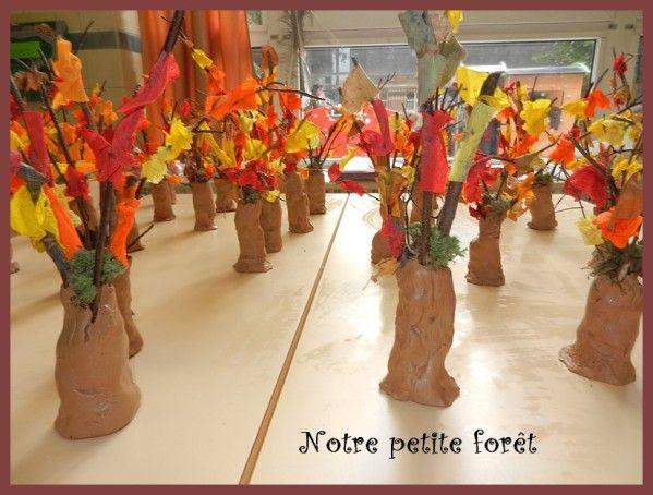 """La semaine dernière a été l'occasion d'une """"grosse patouille"""" dans ma classe. Au programme : de l'argile, des branches, du papier crépon et de la colle... Et qu'avons-nous fait?? Des arbres, (pour changer!!) Nous avons récréé une petite forêt !!!! Chaque..."""