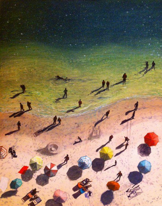 Surrealistisch antenne strand schilderij, Spaans strand landschap, originele olieverfschilderij, Galicië, Oceaan sterren hemel en zand, kosmische strand kunst