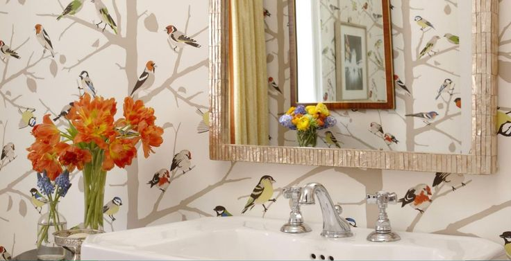 24 best wallpaper images on pinterest wall papers for Funky bathroom wallpaper ideas