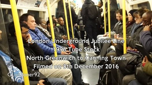 London Underground Jubilee Line 1996 Tube Stock North Greenwich to Canning Town Filmed on 8th December 2016