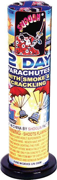 2 Day Parachutes w/ Smoke & Crackling - North Central Industries - www.greatgrizzly.com - MUNCIE INDIANA WHOLESALE FIREWORKS •Category: Parachutes •Item Number: 1120 •Package Contents: 72-4 •Dimensions: 5 x 5 x 2 •Weight: 39lbs Brand Name: Shogun