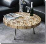 Couchtisch Wohnzimmertisch Teakholz Rund D80xH40cm Format Tisch D 80cm