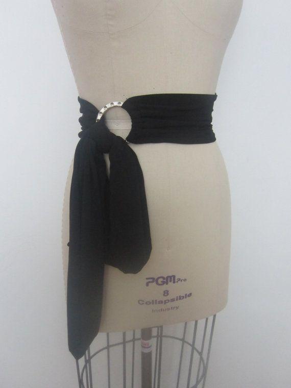 Tie Belt Women Black Belt Wide Wrap Belt Tie Sash with Ring Buckle Fabric Waist Belt Unique Handmade Obi Belt Body Brace ConvertibleTie Belt