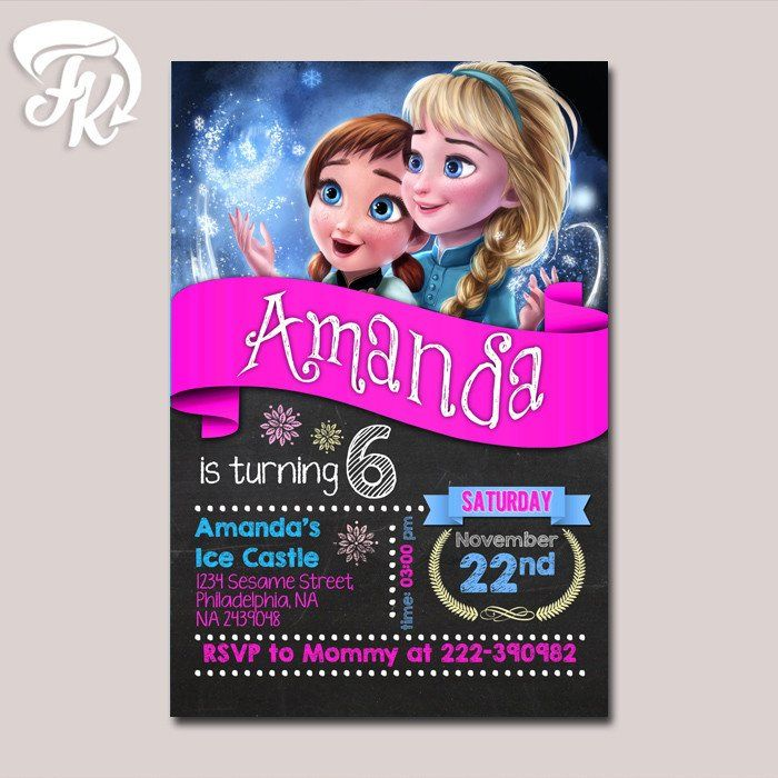 Elsa and Anna Frozen Party Birthday Card