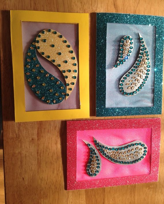 Hand made diwali cards indian crafts diamante deco for Handmade things for room