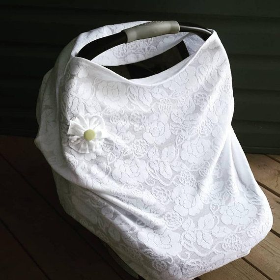 Stretchy Car Seat cover, multi use nursing cover, with flower applique and matching baby headband