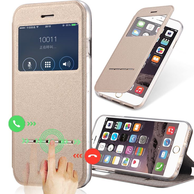 View Window Case For iPhone 6 6S Case 4.7 inch Flip Sliding Answer Matte PU Leather+TPU Phone Bag Cover For iPhone 6/6S Plus 5.5