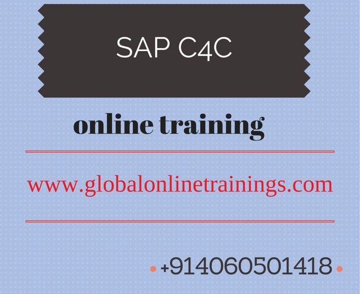 SAP Come with new course SAP (C4C)SAP Cloud for customer.We are offering SAP C4C (cloud for customer) online Training with materials and SAP C4C system access. Enroll SAP Cloud for customer training.