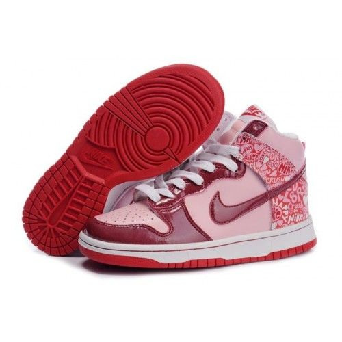 Discount Authentic Womens Nike Dunk High Shoes Red/Black/White Graffiti