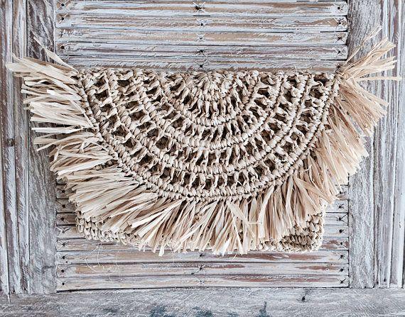 Natural Raffia Clutch Tassel Clutch  Fold Over Design Straw