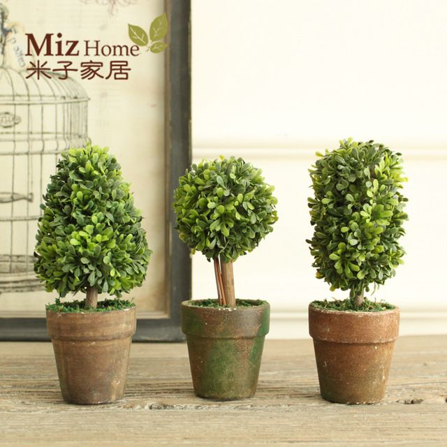 Miz Home 1 Set 3 Mini Artificial Plant  Decor Decorative Potted Plant