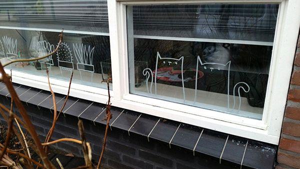 Cats #windowdrawing by Sandra. #raamtekening