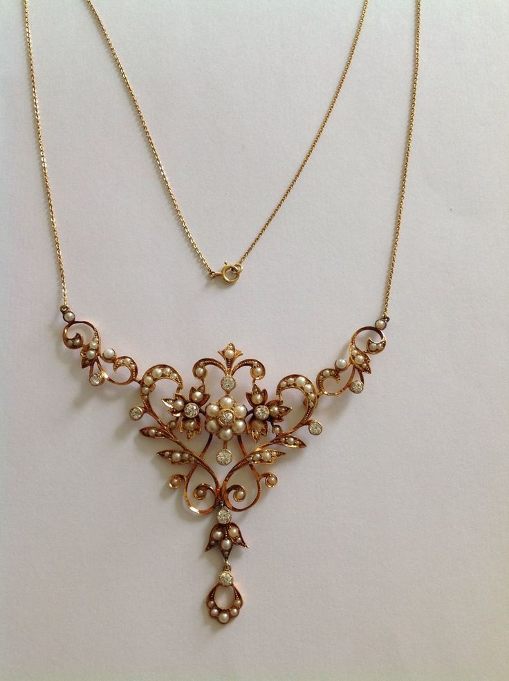 Victorian 15ct Gold Natural Pearl & Diamond Necklace