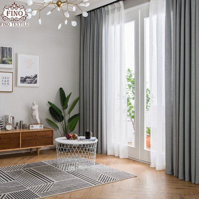 Contemporary Living Room Window Treatments Fino Nordic Gray Solid Curtain In 2020 Living Room Decor Curtains