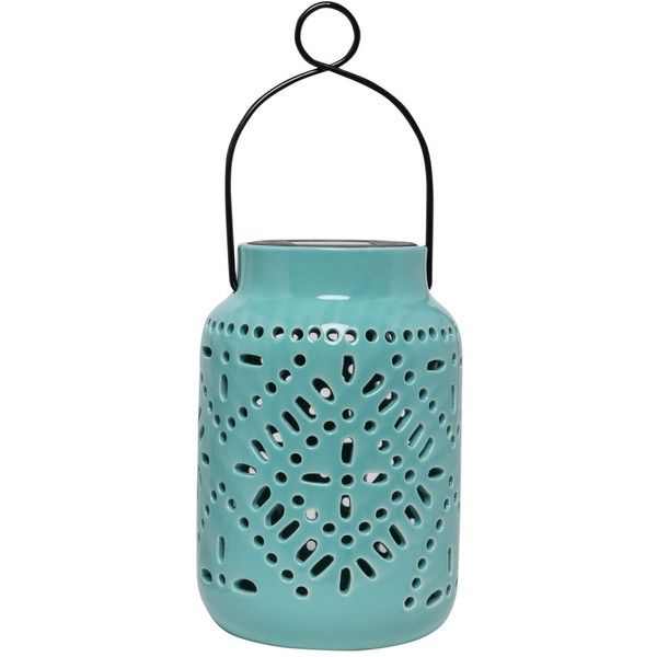 Ceramic Solar Lantern ❤ liked on Polyvore featuring home, home decor, candles & candleholders, ceramic lanterns, solar powered lanterns, solar lanterns, ceramic home decor and ceramic solar lantern